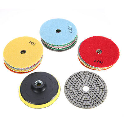 4 inch 100mm Diamond Wet/Dry Polishing Pads 16 Piece Set Stone Concrete Marble