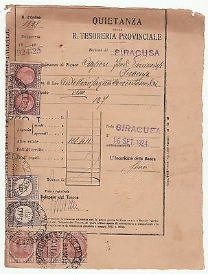 Banca d'Italia - Quietanza del 1924 con favolose  marche da bollo applicate