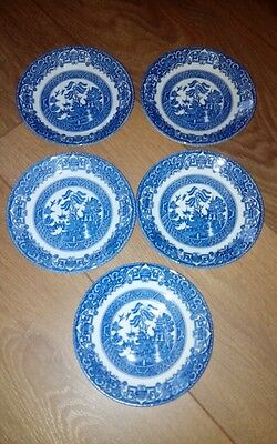 Staffordshire English ironstone tableware 5 saucers blue and white