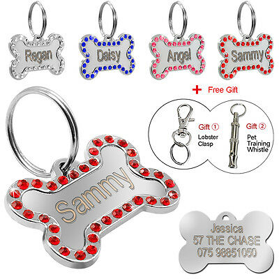 Personalized Dog Tags Engraved Pet ID Tag Stainless Steel Bling Bone Custom Free