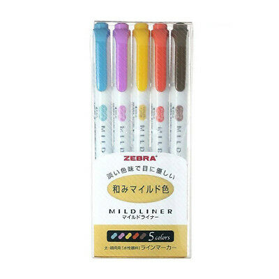 Zebra Mildliner Double-Sided Highlighter Set - Deep & Warm Color, 5 in 1 Set