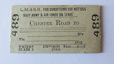 Railway ticket LM&SR, Forces Leave. Chester Road-. Unissued.