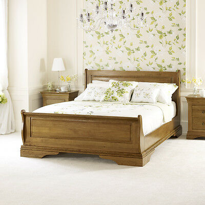 French Louis Solid Oak 4ft 6in Double Sleigh Bed - Furniture - BRAND NEW - FL04