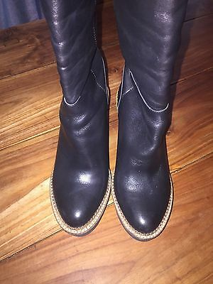 Black Leather Wedge Heel Knee High Boots - size 6/39 TOPSHOP