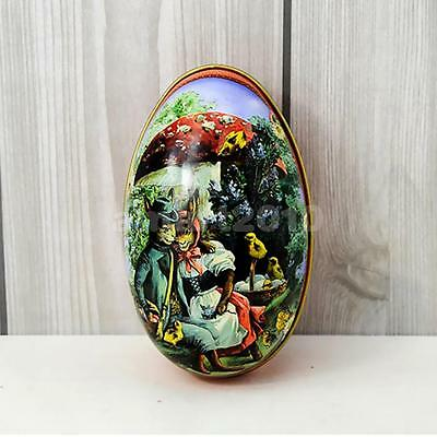 Easter Egg vintage Bunny Rabbit Tin Boxes Painted Basket Candy Accessory 05