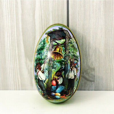 Easter Egg vintage Bunny Rabbit Tin Boxes Painted Basket Candy Accessory 06