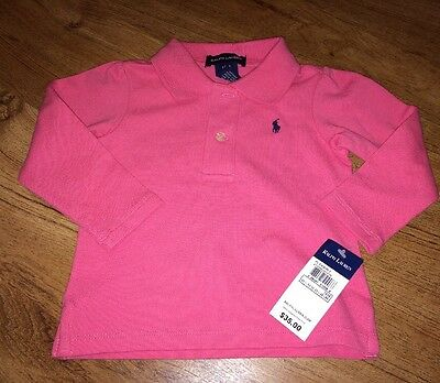 New Nwt Infant Girls Long Sleeve Ralph Lauren Pink Polo Shirt 18 Months