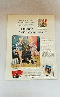 """1950's  Ansco Film Vintage Magazine Ad """"Ringling Brothers Circus Clown Photo"""""""
