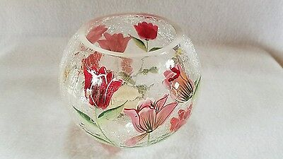 Fifth Avenue Crackle Glass Crystal  Bowl  Votive Butterfly Humming Bird &Tulips