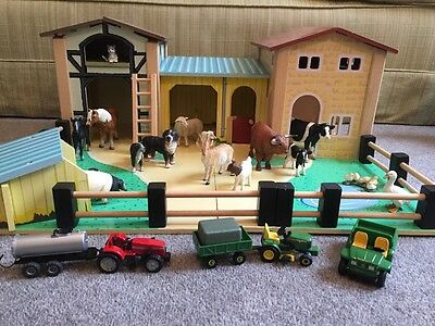 Wooden Toy Farm with Animals and Tractors