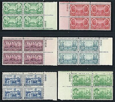 US Stamps: 785-794 Army-Navy Plate Blocks. Mint, og, never hinged (cv$42.25)