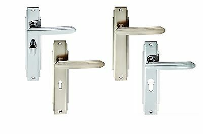 Carlisle Brass - ADR01/CP/SN - Art Deco Lever on Backplate Door Handle (Pair)