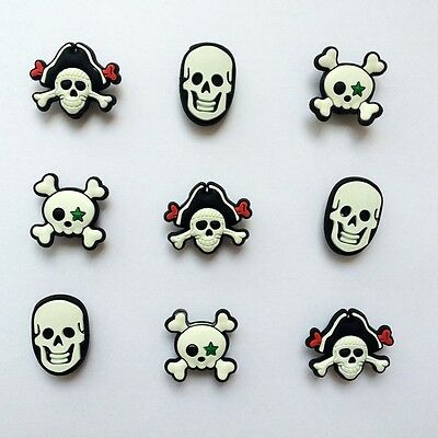Pirate Skull Shoe Charms Accessorie for Bracelets/Bands/Croc/Jibbitz Gifts 9pcs