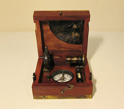 WW1 Navy Sailors Ships Navigational Box With Compass Telescope Levels & Charts