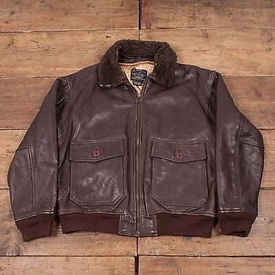 "Mens Avirex Type G-1 Vintage US Navy Genuine Leather Jacket Brown M 42"" R3798"