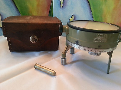 Vintage Wild Heerbrugg Theodolite Survey Circular Compass Original Leather Case
