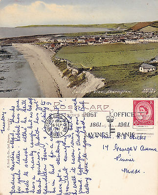1961 General View Of Aberayron Ceredigion Wales Colour Postcard