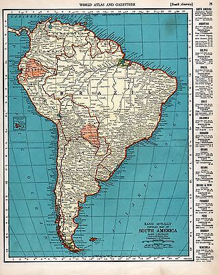 Vintage Pre-Ww Ii Map South America European Colonies Disputed Areas Statistics
