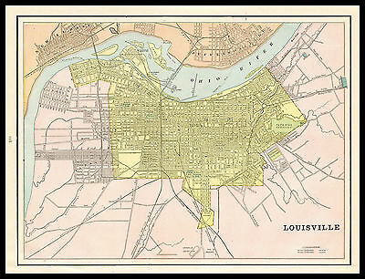City of LOUISVILLE Kentucky 1892 antique detailed color lithograph Plan Map
