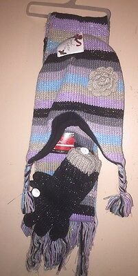 Hat Scarf Gloves 3 Piece Set Girls Juniors New With Defects