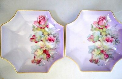 "2 Vintage 5"" Parbus Porcelain Nut Candy Dishes Imperial Bavaria Germany Roses"