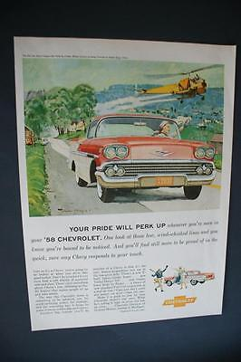 1958 Chevrolet Car Ad Helicopter