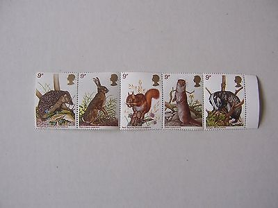 Five new 9p animal stamps - hedgehog, rabbit, squirrel, otter and badger.
