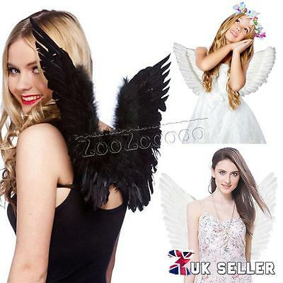 Angel Fairy Large Adult Kids Feather Wings Costume Fancy Night Party Xmas Gift