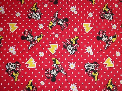 New Hand Made Minnie Mouse on Red Flannel Fitted Crib/Toddler Sheet