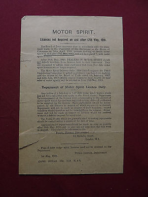 WWI 1919 official notification - cessation of rationing of motor spirit