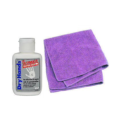Dry Hands Ultimate Grip Solution 2oz Bottle & X Pole Microfibre Cleaning Cloth