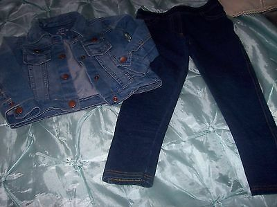 M And S Leggings And Sweet Like You Denim Jacket Aged 3 Years Used