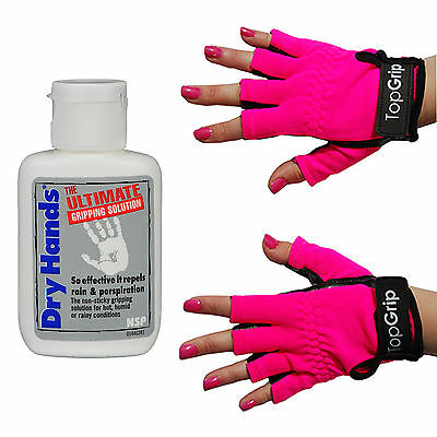 Dry Hands Ultimate Grip Solution 1oz Bottle & Top Grip Large Pink Tack Gloves