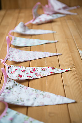 Vintage Floral Flag Bunting Fabric 3.15m High Quality Shabby Chic Garden Party