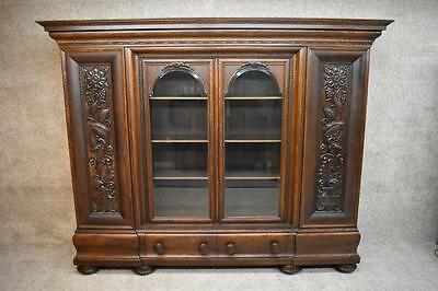Monumental European Victorian Bookcase Curio Display Breakfront Armoire Antique