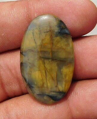 27.00 Cts Super Rock Huge Yellow Tiger Eye Oval Shape A++ 34X20Mm Cab Gemstone
