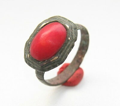 Ancient Medieval Bronze Finger Ring With Red Inlay (DEC01)