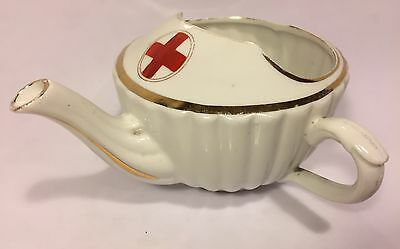 Nursing Invalid Cup Red Cross Ww1 Gilding Fluted Design Charming Display