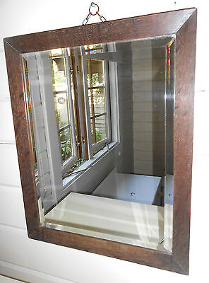 Vintage Retro Antique Solid Oak Framed Wall Mirror With Bevelled Edges & Chain