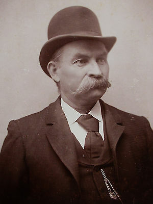 Cabinet Photo Dapper Gent With Big Bushy Mustache Wearing A Derby Hat Galena Ill