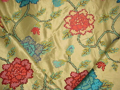 12Y Colefax Fowler Embroidered Floral Blossom Stem Silk Upholstery Fabric