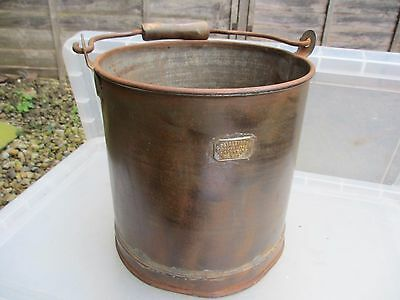 Antique Iron Bucket Wooden Handle Brass Plaque Planter Tub Plant Pot Vintage Old