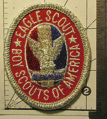 1985 BSA Boy Scout Eagle Scout Rank Patch Type 6 Silver Mylar Edge & Eagle MINT