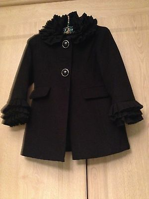 Girls Next STUNNING Black Frill Neck & Cuffs Detailed Winter Coat Aged 3-4 years