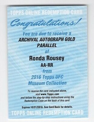 2016 Topps UFC Museum Collection Archival Autograph Gold Ronda Rousey Auto #/25