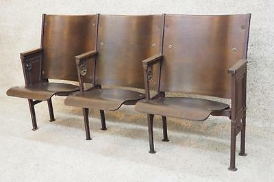 Theater Seats Cast Iron Bench Settee Industrial 3 Chair Foyer Hallway Entryway