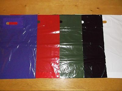 Plastic Shopping Carrier Bags Patch Handle Retail Red Black Purple Green White
