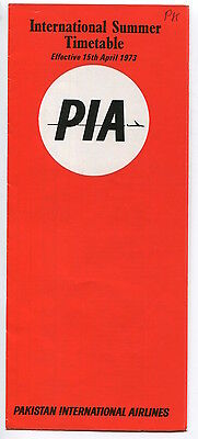 Pia Pakistan International Airlines International Timetable Summer 1973