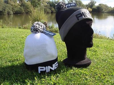 Ping Golf - Classic Bobble Knit Hat Black or White + FREE Tour Tees