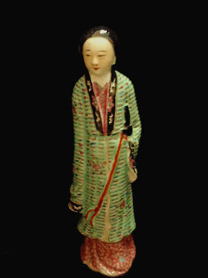 Chinese Antique Porcelain Figurine Woman Famille Rose Palette with Marks